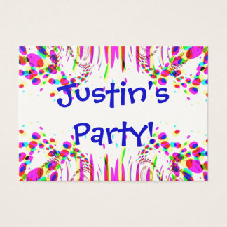 Fun Party Name Card With Colorful Confetti