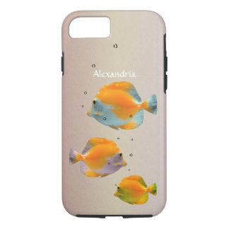 Fun Pastel Blue Yellow Butterfly Coral Fish Custom iPhone 7 Case