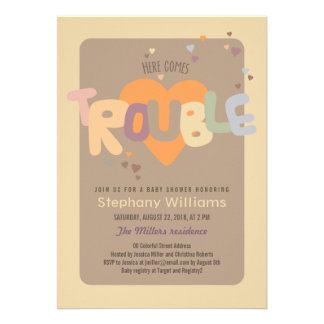 Fun Pastel Trouble Baby Shower Invite Boy Cards