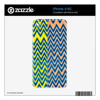 fun patchwork of chevron pattern colorful vintage skin for iPhone 4S