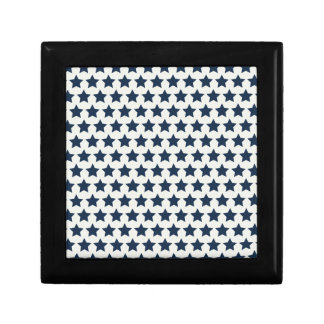 Fun Patriotic Navy Blue Stars 4th of July Pattern Trinket Boxes