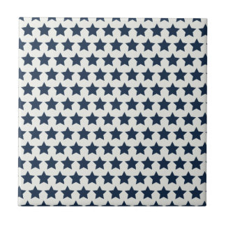 Fun Patriotic Navy Blue Stars 4th of July Pattern Tile