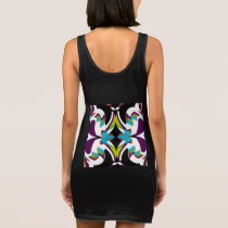Fun Pattern on Black/Blue/White/Purple/Green/Red Sleeveless Dress