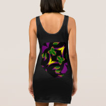 Fun Pattern on Black/Yellow/Purple/Green/Red Sleeveless Dress
