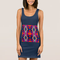 Fun Pattern on Red/Black/Orange/White/Blue/Pink Sleeveless Dress