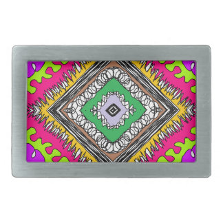 fun pattern with different colors rectangular belt buckle