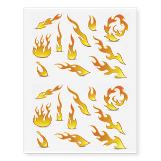 Fun Patterned Flames Cartoon Fire Temporary Tattoos