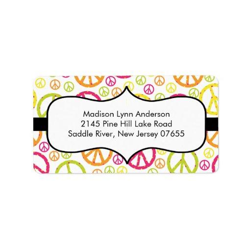 Fun Peace Signs  Return Address Labels. Address Label