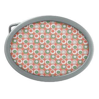 Fun Peach and Green Polka Dot Bubbles Pattern Belt Buckle