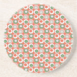Fun Peach and Green Polka Dot Bubbles Pattern Beverage Coasters