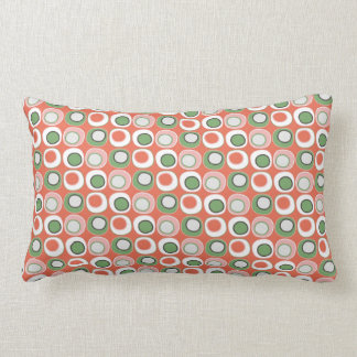 Fun Peach and Green Polka Dot Bubbles Pattern Pillows