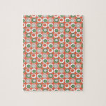 Fun Peach and Green Polka Dot Bubbles Pattern Jigsaw Puzzle