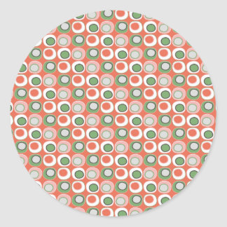 Fun Peach and Green Polka Dot Bubbles Pattern Classic Round Sticker