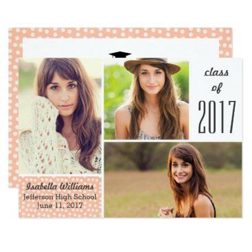 Beach Themed Fun Peach Polka Dot 2017 Graduation Photo Collage Card