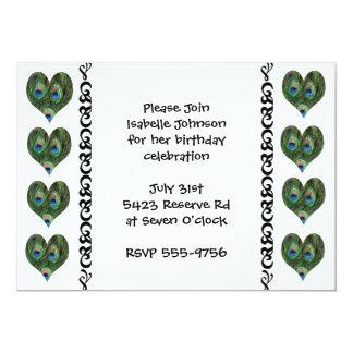 "Fun Peacock Feather Hearts Birthday Invitation 5"" X 7"" Invitation Card"