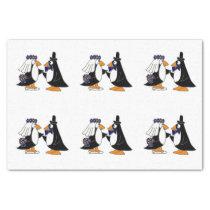 Fun Penguin Bride and Groom Wedding Tissue Paper