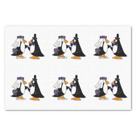 "Fun Penguin Bride and Groom Wedding Tissue Paper 10"" X 15"" Tissue Paper"