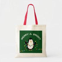 Fun Penguin Christmas Holiday gift Tote Bag