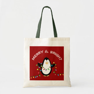 Fun Penguin Red Christmas Holiday gift Tote Bag
