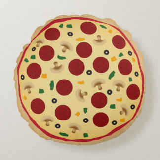 Fun Pepperoni and Veggie Novelty Kids Room Decor Round Pillow