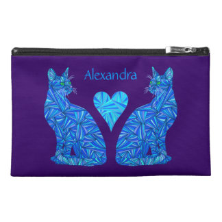 Fun Personalized Abstract Blue Cat Travel Bag