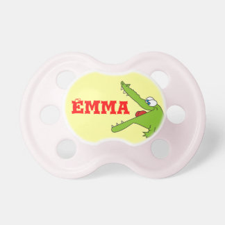 Fun Personalized Alligator Pacifier for Baby Girl