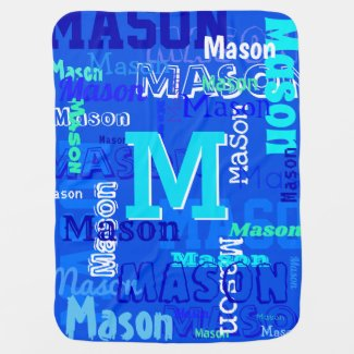 Fun Personalized and Monogrammed Boy's Baby Blanket