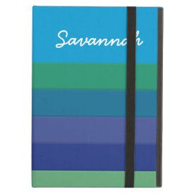 Fun Personalized Blue Green Striped Case iPad Covers