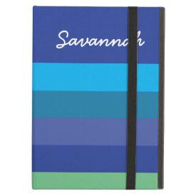 Fun Personalized Blue Green Striped Case iPad Cases