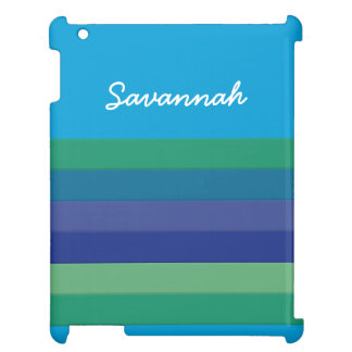 Fun Personalized Blue Green Striped Case iPad Cases