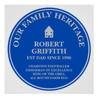 Fun Personalized Family Heritage Plaque Poster