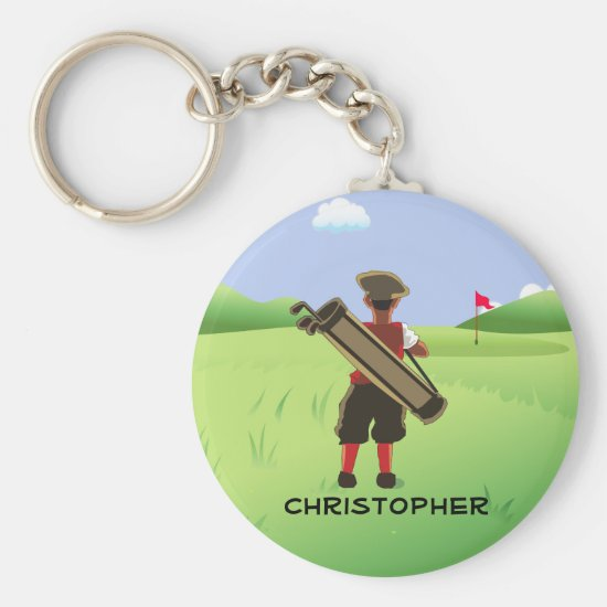 Fun Personalized Golf Cartoon Keychain