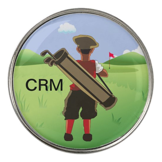 Fun Personalized Golfer on golf course Golf Ball Marker