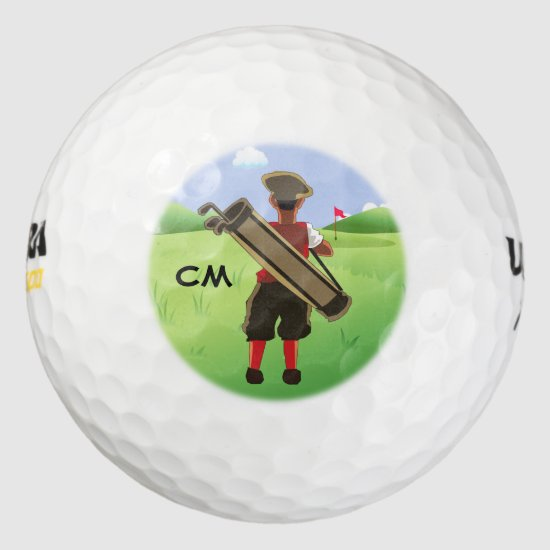 Fun Personalized Golfer on golf course Golf Balls