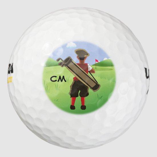 Fun Personalized Golfer on golf course Golf Balls