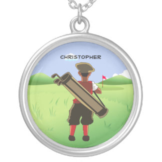 Fun Personalized Golfer on golf course Round Pendant Necklace