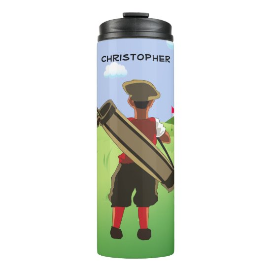 Fun Personalized Golfer on golf course Thermal Tumbler