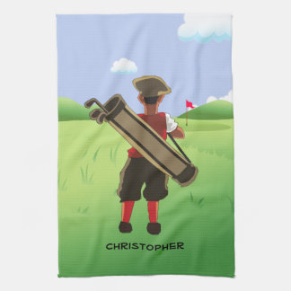Fun Personalized Golfer on golf course Towel