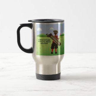 Fun Personalized Golfer on golf course Travel Mug