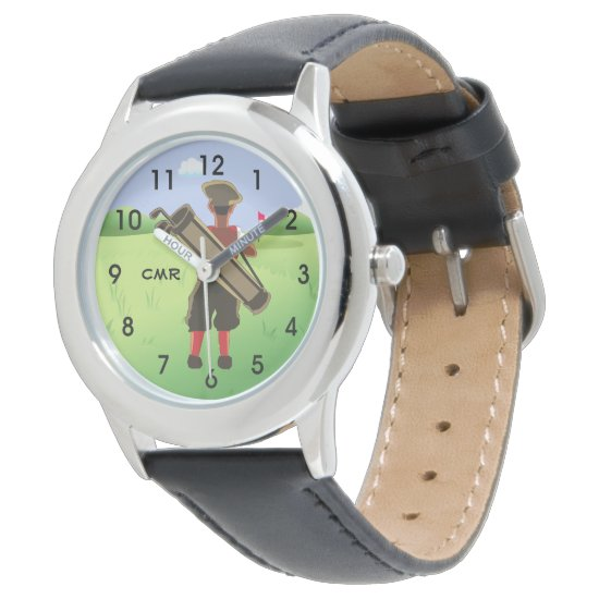Fun Personalized Golfer on golf course Wrist Watch