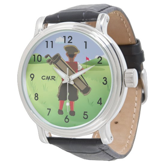Fun Personalized Golfer on golf course Wristwatch
