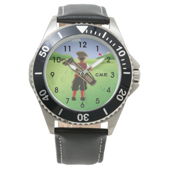 Fun Personalized monogram Golfer on golf course Wristwatch