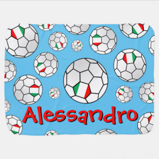Fun Personalized Random Pattern Italy Soccer Ball Baby Blanket