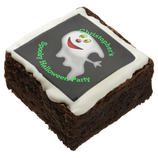 Fun personalized spooky ghost Halloween party Square Brownie