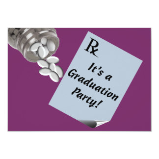 "Fun Pharmacist Graduation Party Invitations Plum 4.5"" X 6.25"" Invitation Card"