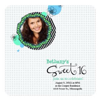 "Fun Photo Sweet 16 Invitations- Blue and Green 5.25"" Square Invitation Card"