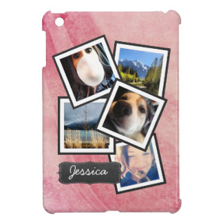 Fun Photos Personalized on Pink Swirl Background Case For The iPad Mini