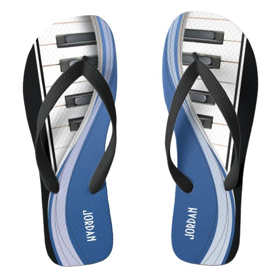 Fun Piano Design With Blue Swoosh Flip Flops
