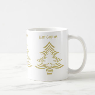 Fun Picture Fonts - Gold and White Christmas Tree Coffee Mug