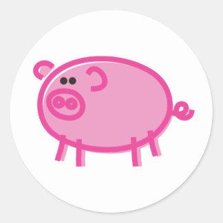 Fun Pig on White Classic Round Sticker